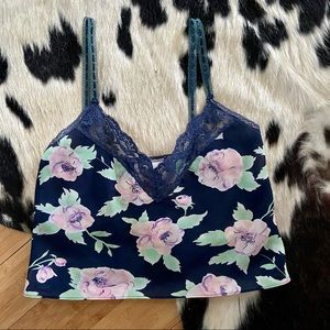 Floral Crop Camisole with Lace